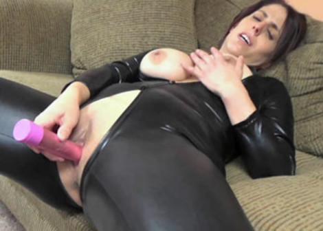 Lavender's in her catsuit and doing a dildo